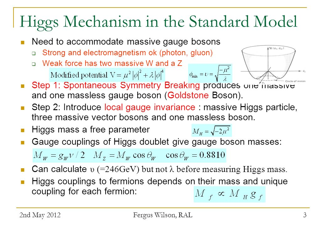 Higgs Mechanism in the Standard Model Need to accommodate massive gauge bosons Strong and electromagnetism ok (photon, gluon) Weak force has two massi