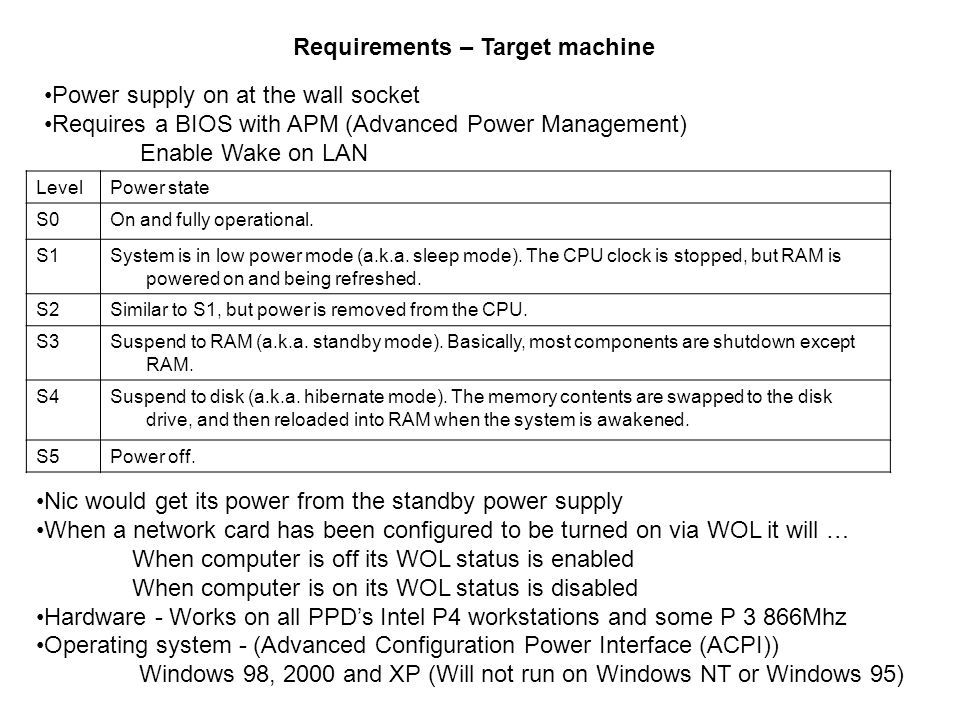 Requirements – Target machine LevelPower state S0On and fully operational.