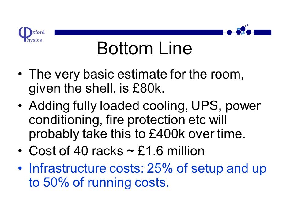 Example: 40 Racks for Oxford We have an ideal location –Lots of power –Underground (no heat from the sun and very secure).