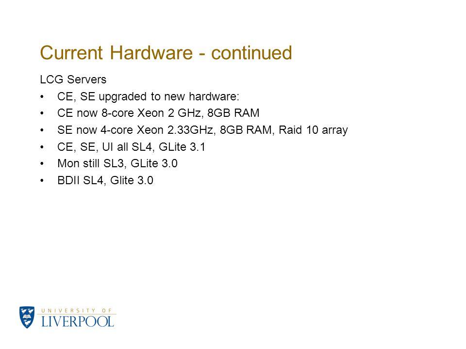 Current Hardware - continued LCG Servers CE, SE upgraded to new hardware: CE now 8-core Xeon 2 GHz, 8GB RAM SE now 4-core Xeon 2.33GHz, 8GB RAM, Raid 10 array CE, SE, UI all SL4, GLite 3.1 Mon still SL3, GLite 3.0 BDII SL4, Glite 3.0