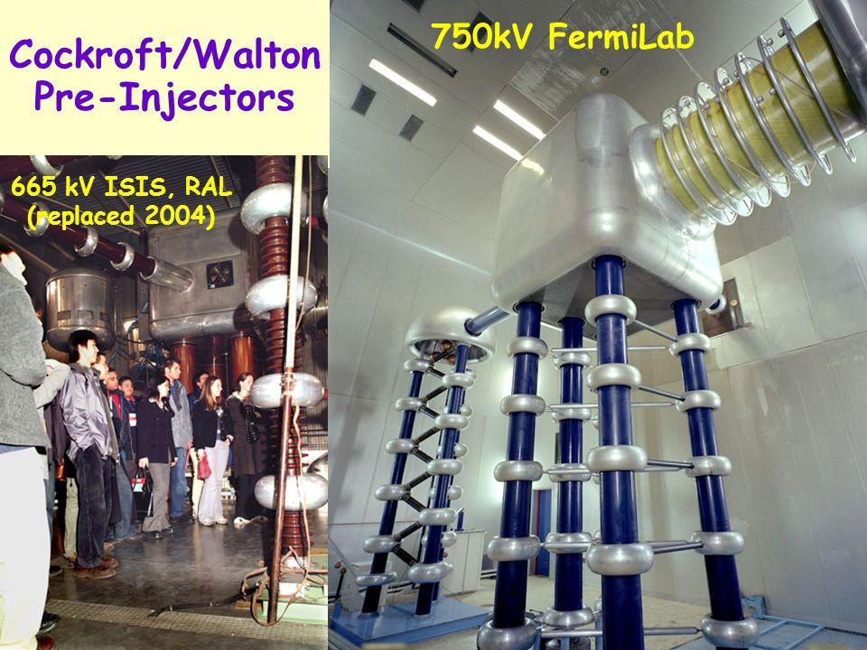 8 Cockroft/Walton Pre-Injectors 750kV FermiLab 665 kV ISIS, RAL (replaced 2004)