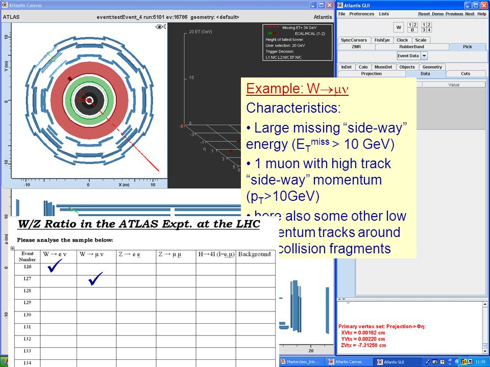 Masterclass 200815 Example: W Characteristics: Large missing side- ways energy (E T miss > 10 GeV) 1 muon with high track side-way momentum (p T >10GeV) Example: W Characteristics: Large missing side-way energy (E T miss > 10 GeV) 1 muon with high track side-way momentum (p T >10GeV) here also some other low momentum tracks around from collision fragments