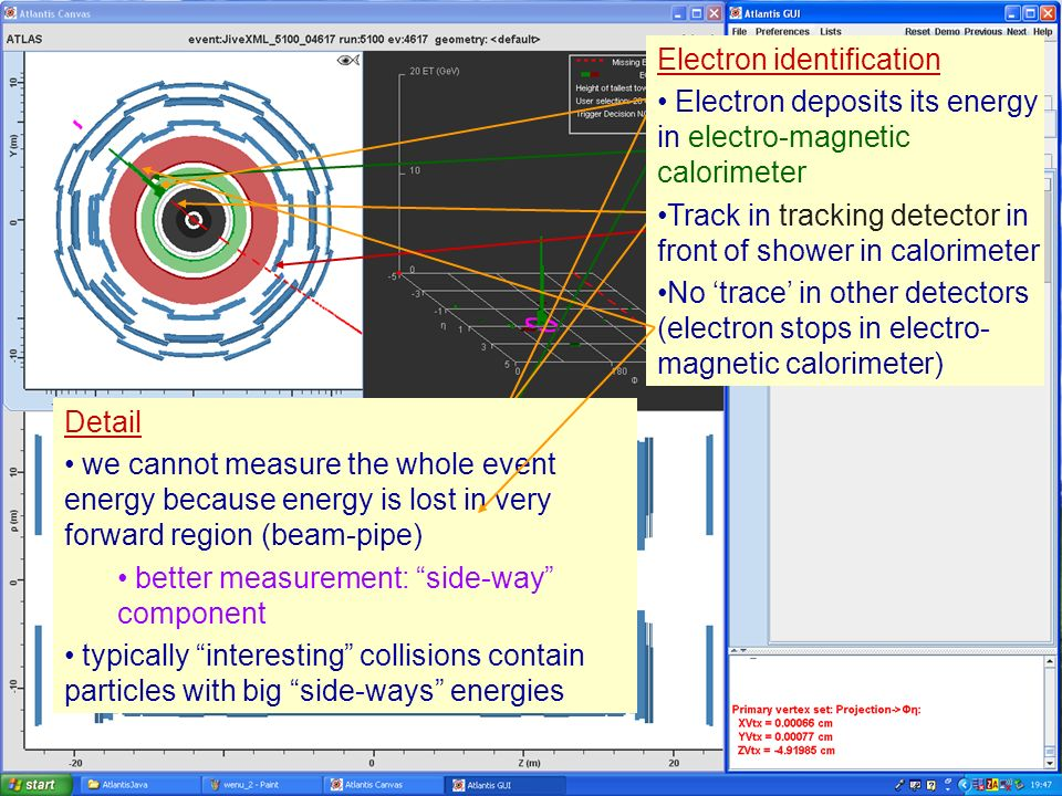 Masterclass 20086 Example: W e Characteristics: - Electron with high side- way or transverse energy - Neutrino measured indirectly via large missing side-way or transverse energy Electron identification Electron deposits its energy in electro-magnetic calorimeter Electron identification Electron deposits its energy in electro-magnetic calorimeter Track in tracking detector in front of shower in calorimeter Detail we cannot measure the whole event energy because energy is lost in very forward region (beam-pipe) better measurement: side-way component typically interesting collisions contain particles with big side-ways energies Electron identification Electron deposits its energy in electro-magnetic calorimeter Track in tracking detector in front of shower in calorimeter No trace in other detectors (electron stops in electro- magnetic calorimeter)