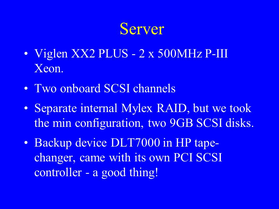 Server Viglen XX2 PLUS - 2 x 500MHz P-III Xeon. Two onboard SCSI channels Separate internal Mylex RAID, but we took the min configuration, two 9GB SCS
