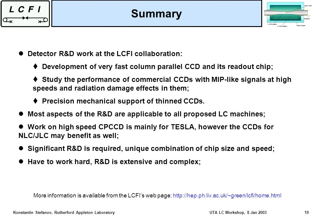 Konstantin Stefanov, Rutherford Appleton Laboratory UTA LC Workshop, 8 Jan 2003 19 Detector R&D work at the LCFI collaboration: Development of very fast column parallel CCD and its readout chip; Study the performance of commercial CCDs with MIP-like signals at high speeds and radiation damage effects in them; Precision mechanical support of thinned CCDs.