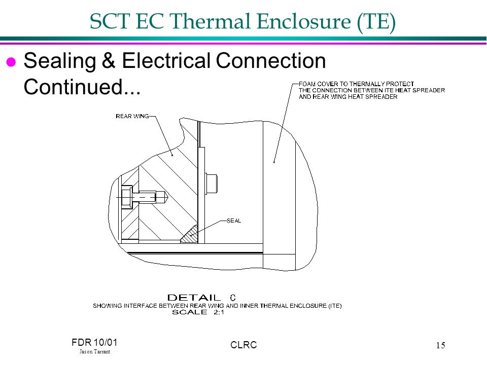 FDR 10/01 Jason Tarrant CLRC15 SCT EC Thermal Enclosure (TE) l Sealing & Electrical Connection Continued...