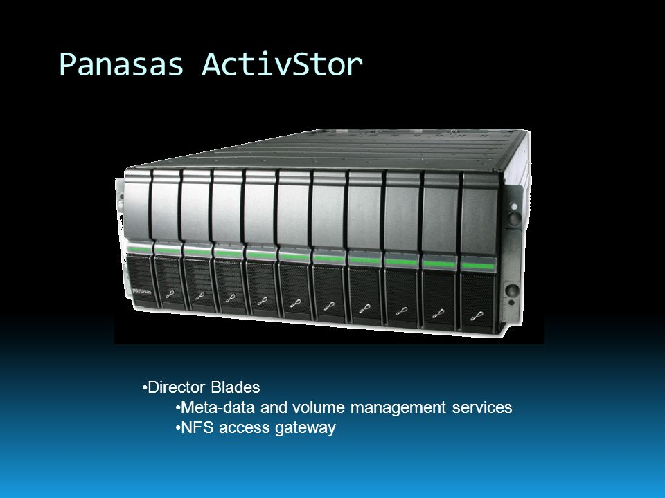Director Blades Meta-data and volume management services NFS access gateway