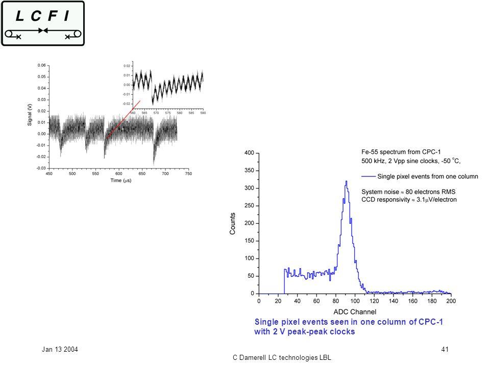 Jan 13 2004 C Damerell LC technologies LBL 41 Single pixel events seen in one column of CPC-1 with 2 V peak-peak clocks