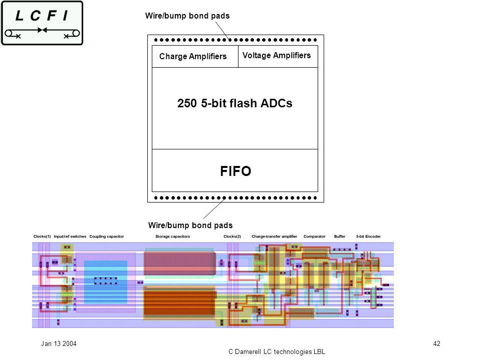 Jan 13 2004 C Damerell LC technologies LBL 42 FIFO 250 5-bit flash ADCs Charge Amplifiers Voltage Amplifiers Wire/bump bond pads