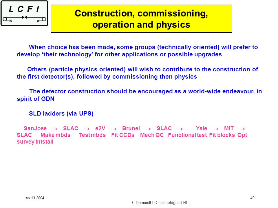 Jan 13 2004 C Damerell LC technologies LBL 49 Construction, commissioning, operation and physics When choice has been made, some groups (technically oriented) will prefer to develop their technology for other applications or possible upgrades Others (particle physics oriented) will wish to contribute to the construction of the first detector(s), followed by commissioning then physics The detector construction should be encouraged as a world-wide endeavour, in spirit of GDN SLD ladders (via UPS) SanJose SLAC e2V Brunel SLAC Yale MIT SLAC Make mbds Test mbds Fit CCDs Mech QC Functional test Fit blocks Opt survey Intstall