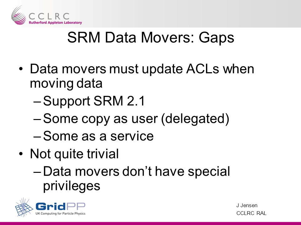 J Jensen CCLRC RAL SRM Data Movers: Gaps Data movers must update ACLs when moving data –Support SRM 2.1 –Some copy as user (delegated) –Some as a service Not quite trivial –Data movers dont have special privileges
