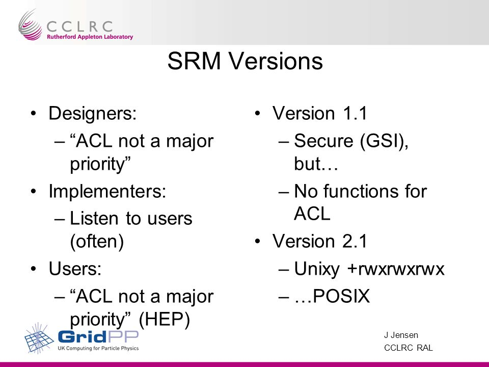 J Jensen CCLRC RAL SRM Versions Designers: –ACL not a major priority Implementers: –Listen to users (often) Users: –ACL not a major priority (HEP) Version 1.1 –Secure (GSI), but… –No functions for ACL Version 2.1 –Unixy +rwxrwxrwx –…POSIX