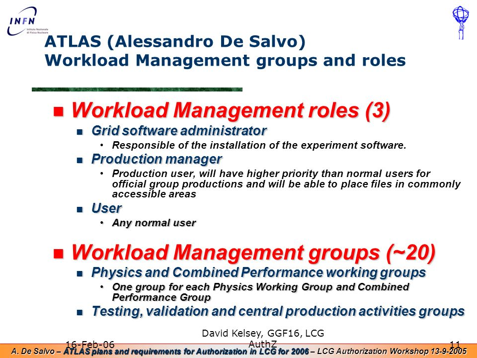 A. De Salvo – ATLAS plans and requirements for Authorization in LCG for 2006 – LCG Authorization Workshop 13-9-2005 16-Feb-06 David Kelsey, GGF16, LCG
