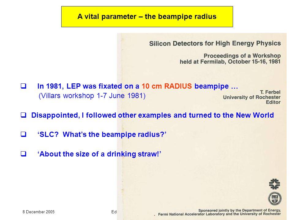 8 December 2005Edinburgh U seminar – Chris Damerell 15 In 1981, LEP was fixated on a 10 cm RADIUS beampipe … (Villars workshop 1-7 June 1981) Disappoi