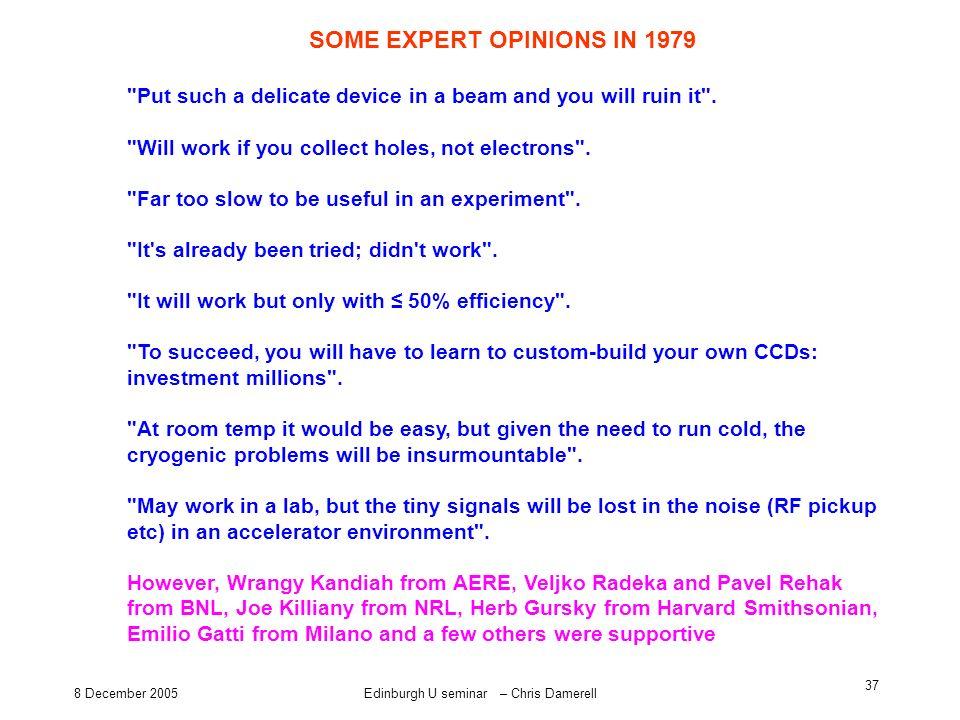 8 December 2005Edinburgh U seminar – Chris Damerell 37 SOME EXPERT OPINIONS IN 1979