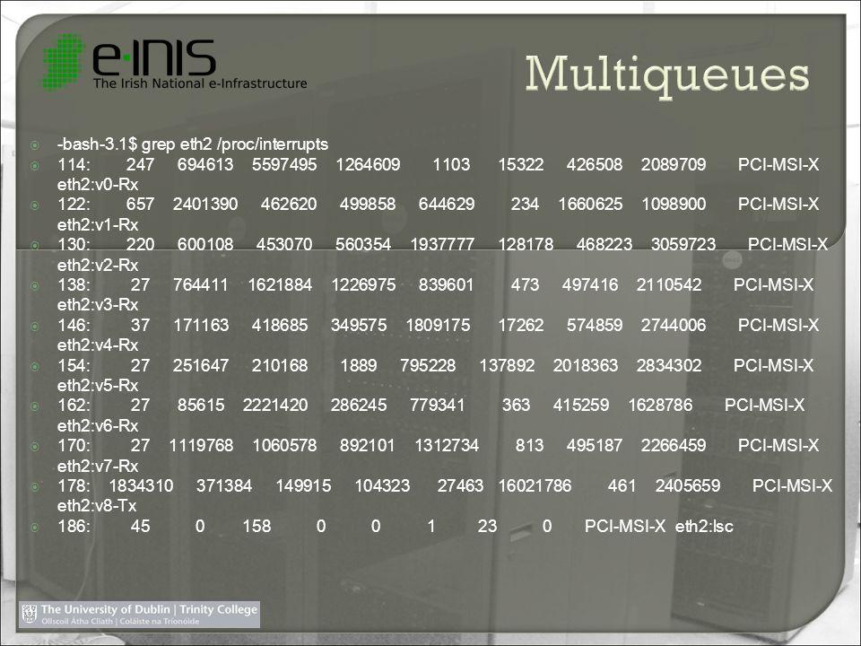 -bash-3.1$ grep eth2 /proc/interrupts 114: 247 694613 5597495 1264609 1103 15322 426508 2089709 PCI-MSI-X eth2:v0-Rx 122: 657 2401390 462620 499858 644629 234 1660625 1098900 PCI-MSI-X eth2:v1-Rx 130: 220 600108 453070 560354 1937777 128178 468223 3059723 PCI-MSI-X eth2:v2-Rx 138: 27 764411 1621884 1226975 839601 473 497416 2110542 PCI-MSI-X eth2:v3-Rx 146: 37 171163 418685 349575 1809175 17262 574859 2744006 PCI-MSI-X eth2:v4-Rx 154: 27 251647 210168 1889 795228 137892 2018363 2834302 PCI-MSI-X eth2:v5-Rx 162: 27 85615 2221420 286245 779341 363 415259 1628786 PCI-MSI-X eth2:v6-Rx 170: 27 1119768 1060578 892101 1312734 813 495187 2266459 PCI-MSI-X eth2:v7-Rx 178: 1834310 371384 149915 104323 27463 16021786 461 2405659 PCI-MSI-X eth2:v8-Tx 186: 45 0 158 0 0 1 23 0 PCI-MSI-X eth2:lsc
