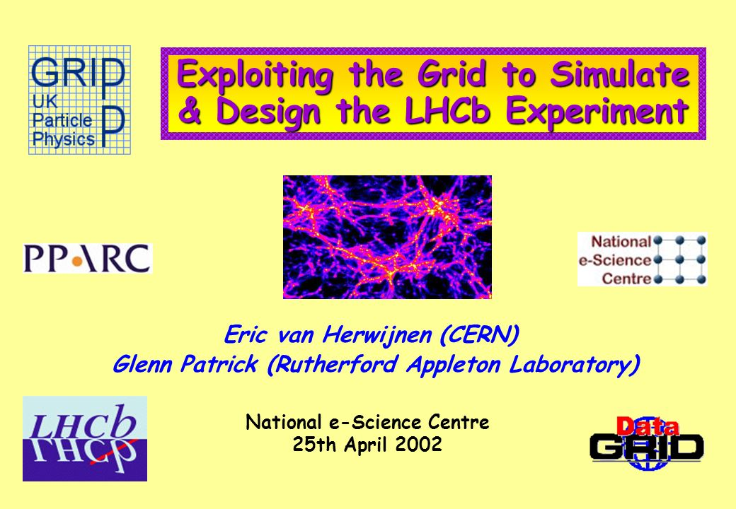 Exploiting the Grid to Simulate & Design the LHCb Experiment Eric van Herwijnen (CERN) Glenn Patrick (Rutherford Appleton Laboratory) National e-Science Centre 25th April 2002