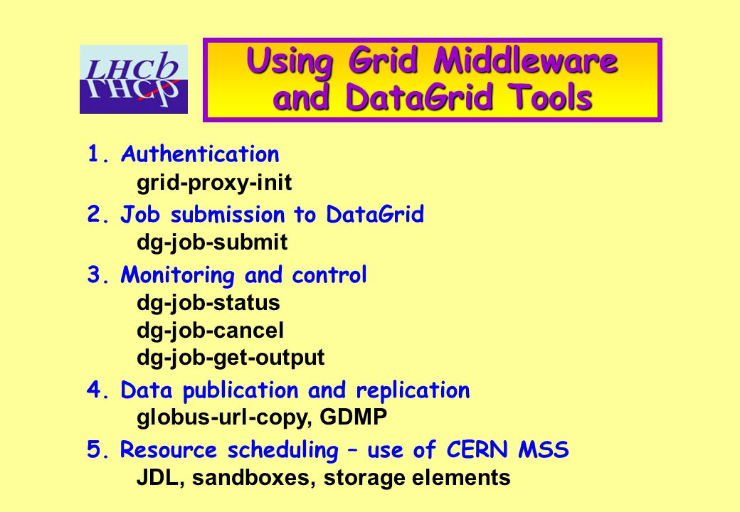 Using Grid Middleware and DataGrid Tools 1. Authentication grid-proxy-init 2.
