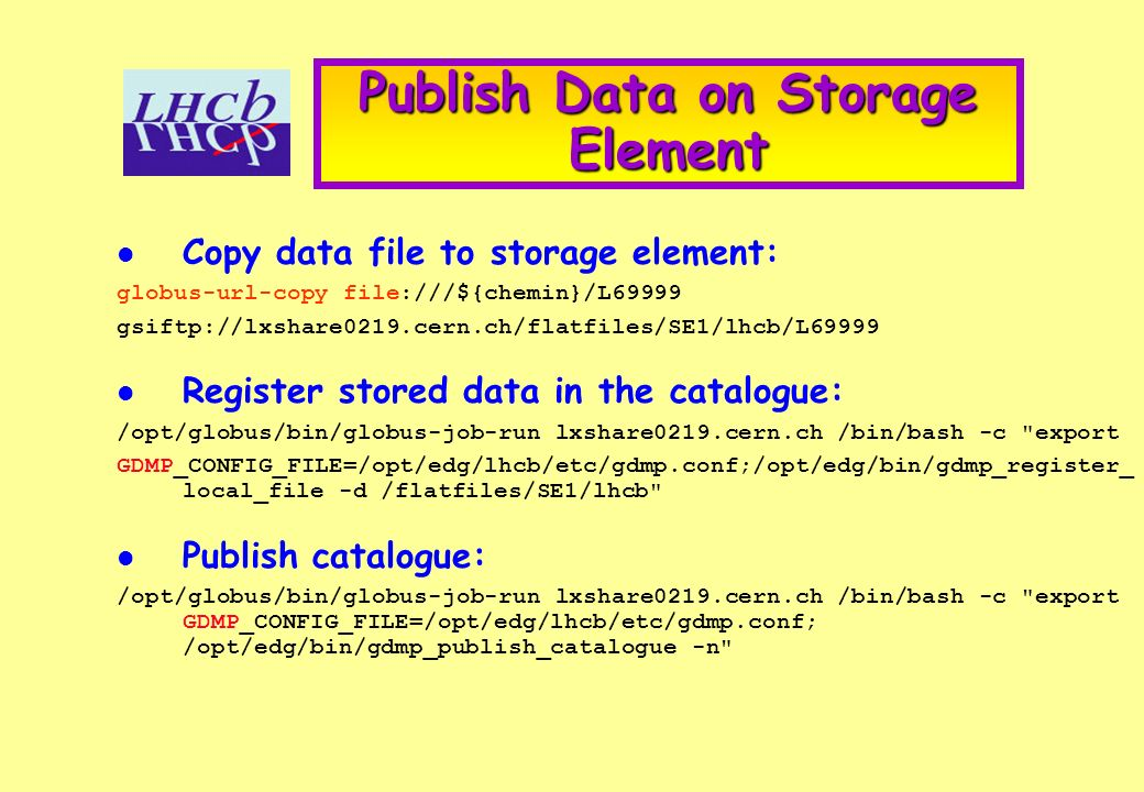Publish Data on Storage Element Copy data file to storage element: globus-url-copy file:///${chemin}/L69999 gsiftp://lxshare0219.cern.ch/flatfiles/SE1/lhcb/L69999 Register stored data in the catalogue: /opt/globus/bin/globus-job-run lxshare0219.cern.ch /bin/bash -c export GDMP_CONFIG_FILE=/opt/edg/lhcb/etc/gdmp.conf;/opt/edg/bin/gdmp_register_ local_file -d /flatfiles/SE1/lhcb Publish catalogue: /opt/globus/bin/globus-job-run lxshare0219.cern.ch /bin/bash -c export GDMP_CONFIG_FILE=/opt/edg/lhcb/etc/gdmp.conf; /opt/edg/bin/gdmp_publish_catalogue -n