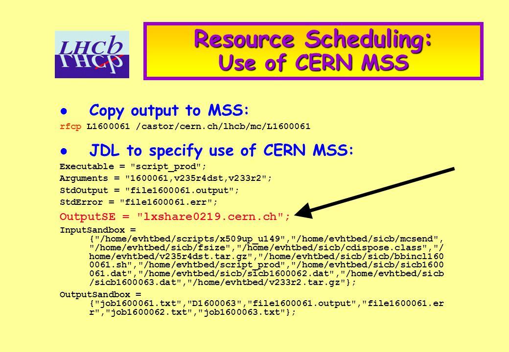 Resource Scheduling: Use of CERN MSS Copy output to MSS: rfcp L1600061 /castor/cern.ch/lhcb/mc/L1600061 JDL to specify use of CERN MSS: Executable = script_prod ; Arguments = 1600061,v235r4dst,v233r2 ; StdOutput = file1600061.output ; StdError = file1600061.err ; OutputSE = lxshare0219.cern.ch ; InputSandbox = { /home/evhtbed/scripts/x509up_u149 , /home/evhtbed/sicb/mcsend , /home/evhtbed/sicb/fsize , /home/evhtbed/sicb/cdispose.class , / home/evhtbed/v235r4dst.tar.gz , /home/evhtbed/sicb/sicb/bbincl160 0061.sh , /home/evhtbed/script_prod , /home/evhtbed/sicb/sicb1600 061.dat , /home/evhtbed/sicb/sicb1600062.dat , /home/evhtbed/sicb /sicb1600063.dat , /home/evhtbed/v233r2.tar.gz }; OutputSandbox = { job1600061.txt , D1600063 , file1600061.output , file1600061.er r , job1600062.txt , job1600063.txt };