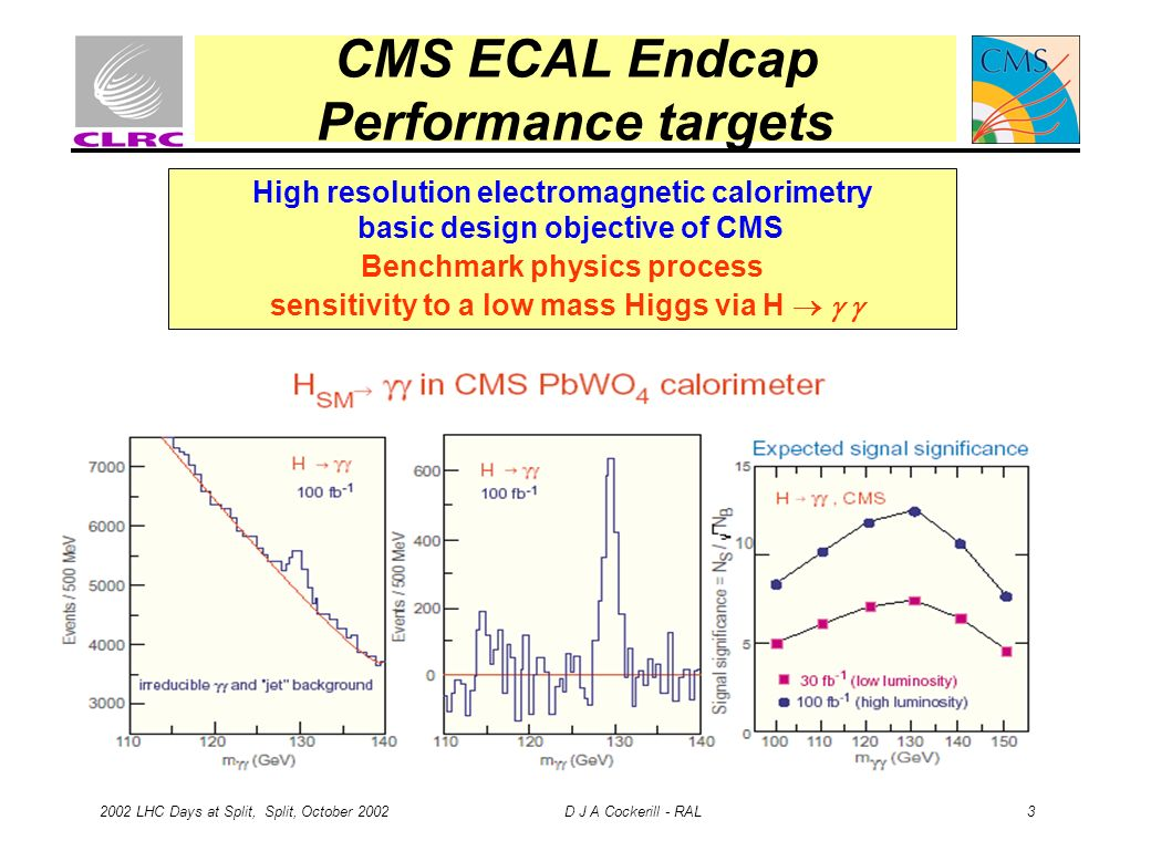 2002 LHC Days at Split, Split, October 2002 D J A Cockerill - RAL 3 CMS ECAL Endcap Performance targets High resolution electromagnetic calorimetry ba