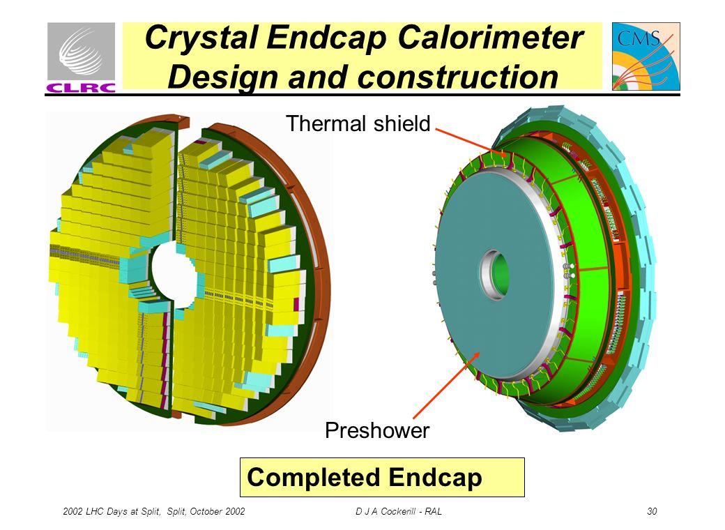 2002 LHC Days at Split, Split, October 2002 D J A Cockerill - RAL 30 Crystal Endcap Calorimeter Design and construction Thermal shield Preshower Completed Endcap