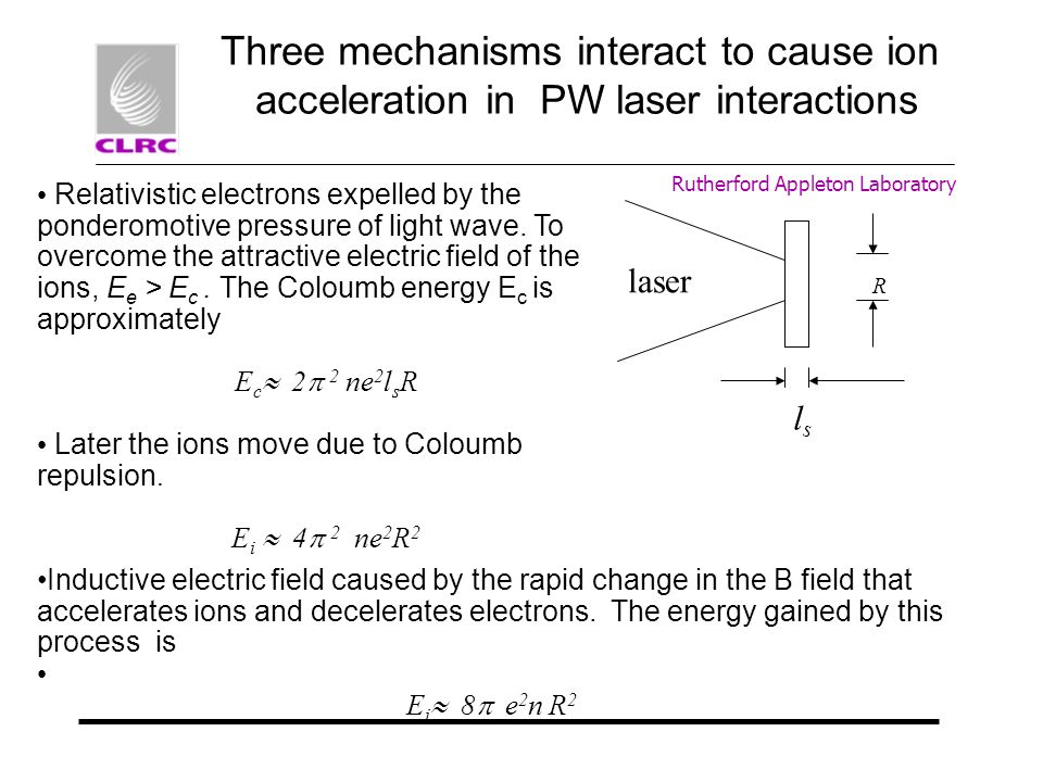 Rutherford Appleton Laboratory Three mechanisms interact to cause ion acceleration in PW laser interactions Relativistic electrons expelled by the pon
