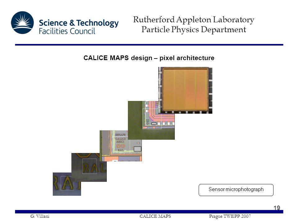 Rutherford Appleton Laboratory Particle Physics Department G. Villani CALICE MAPS Prague TWEPP 2007 19 CALICE MAPS design – pixel architecture Sensor