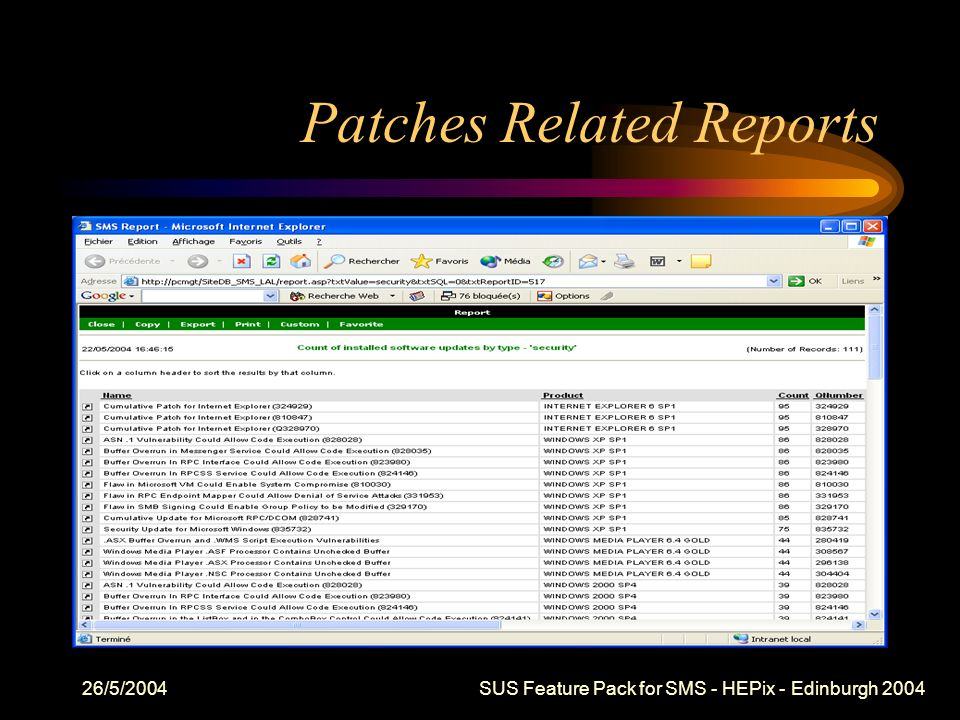 26/5/2004 SUS Feature Pack for SMS - HEPix - Edinburgh 2004 Patches Related Reports