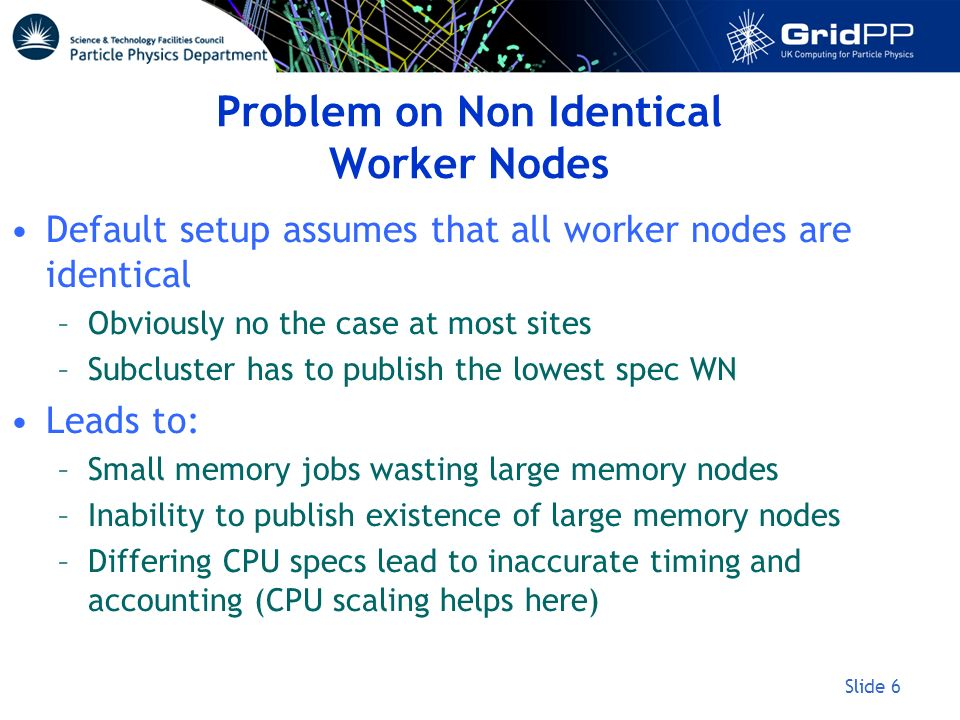 Slide 6 Problem on Non Identical Worker Nodes Default setup assumes that all worker nodes are identical –Obviously no the case at most sites –Subclust