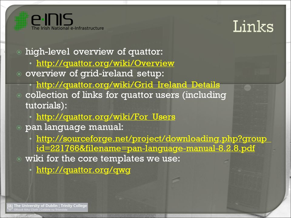 high-level overview of quattor: http://quattor.org/wiki/Overview overview of grid-ireland setup: http://quattor.org/wiki/Grid_Ireland_Details collecti