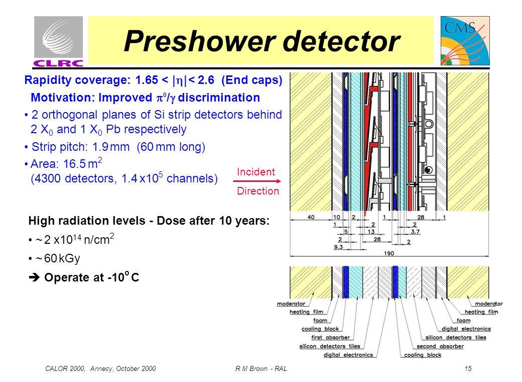 CALOR 2000, Annecy, October 2000 R M Brown - RAL 15 Preshower detector Rapidity coverage: 1.65 < | | < 2.6 (End caps) Motivation: Improved 0 / discrim