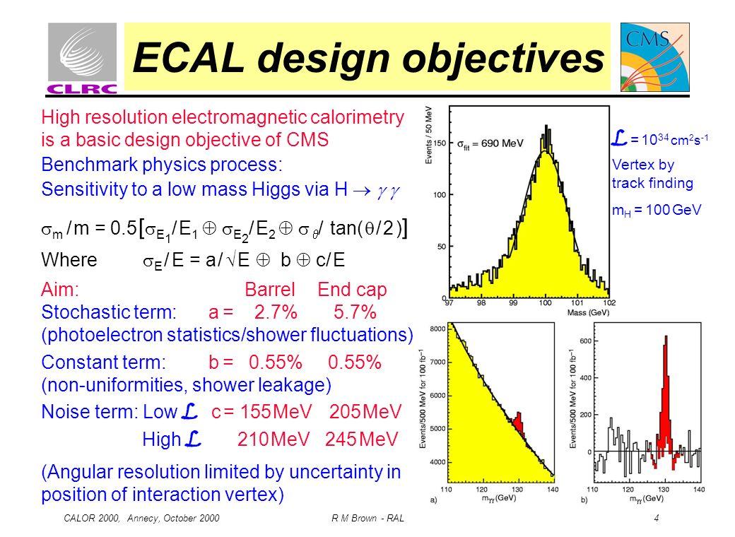 CALOR 2000, Annecy, October 2000 R M Brown - RAL 4 ECAL design objectives L = 10 34 cm 2 s -1 Vertex by track finding m H = 100 GeV High resolution el