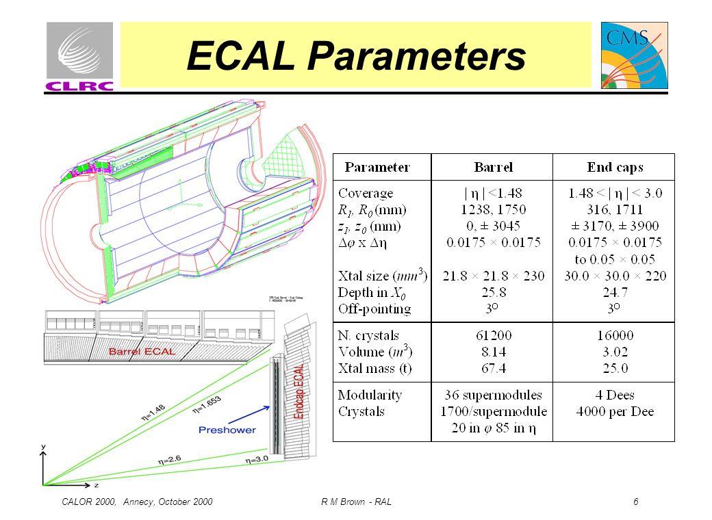 CALOR 2000, Annecy, October 2000 R M Brown - RAL 6 ECAL Parameters