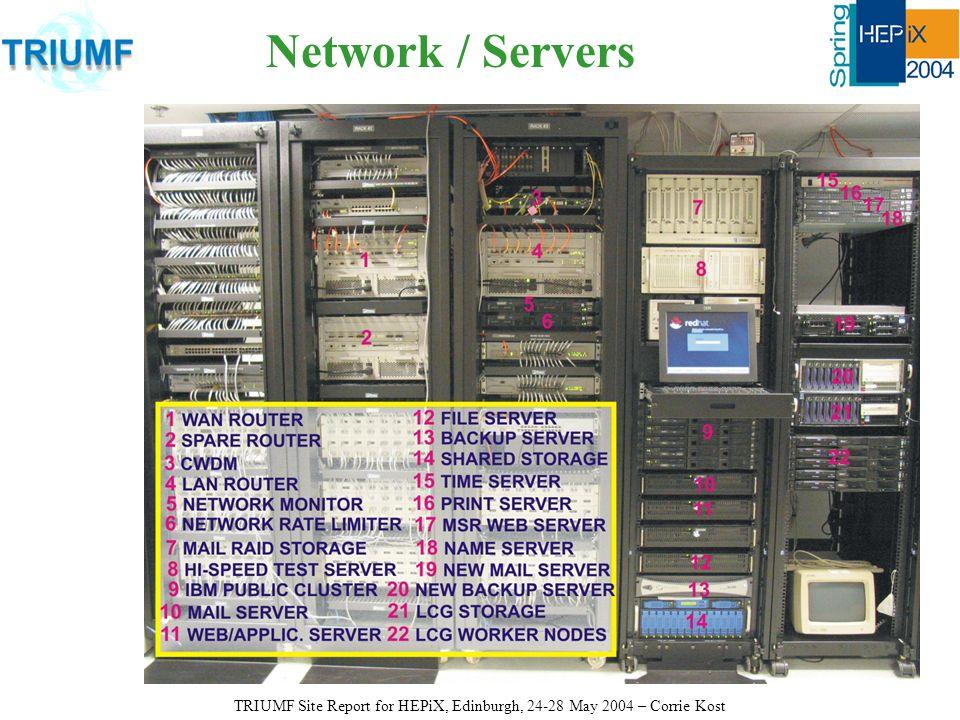 Network / Servers TRIUMF Site Report for HEPiX, Edinburgh, 24-28 May 2004 – Corrie Kost