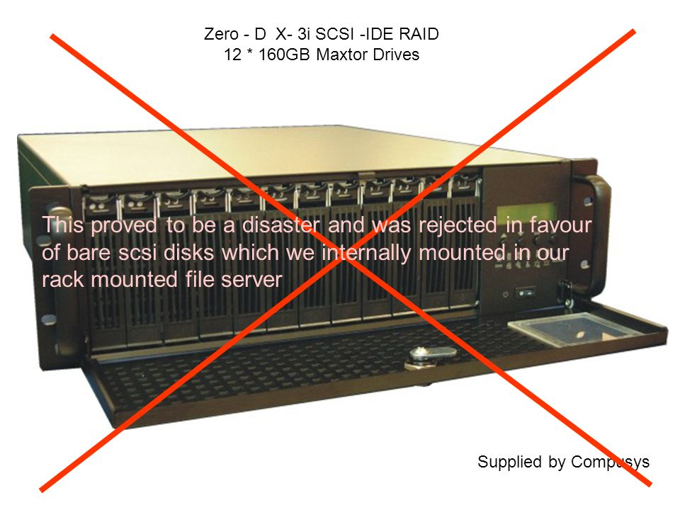 Zero - D X- 3i SCSI -IDE RAID 12 * 160GB Maxtor Drives Supplied by Compusys This proved to be a disaster and was rejected in favour of bare scsi disks