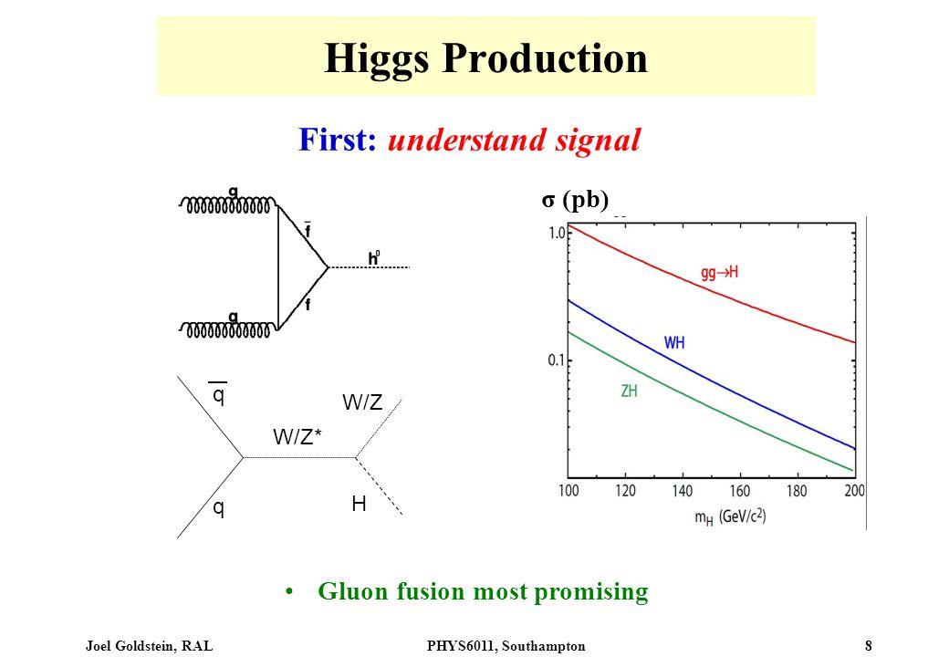 Joel Goldstein, RALPHYS6011, Southampton 8 Higgs Production First: understand signal W/Z* H q q W/Z σ (pb) Gluon fusion most promising