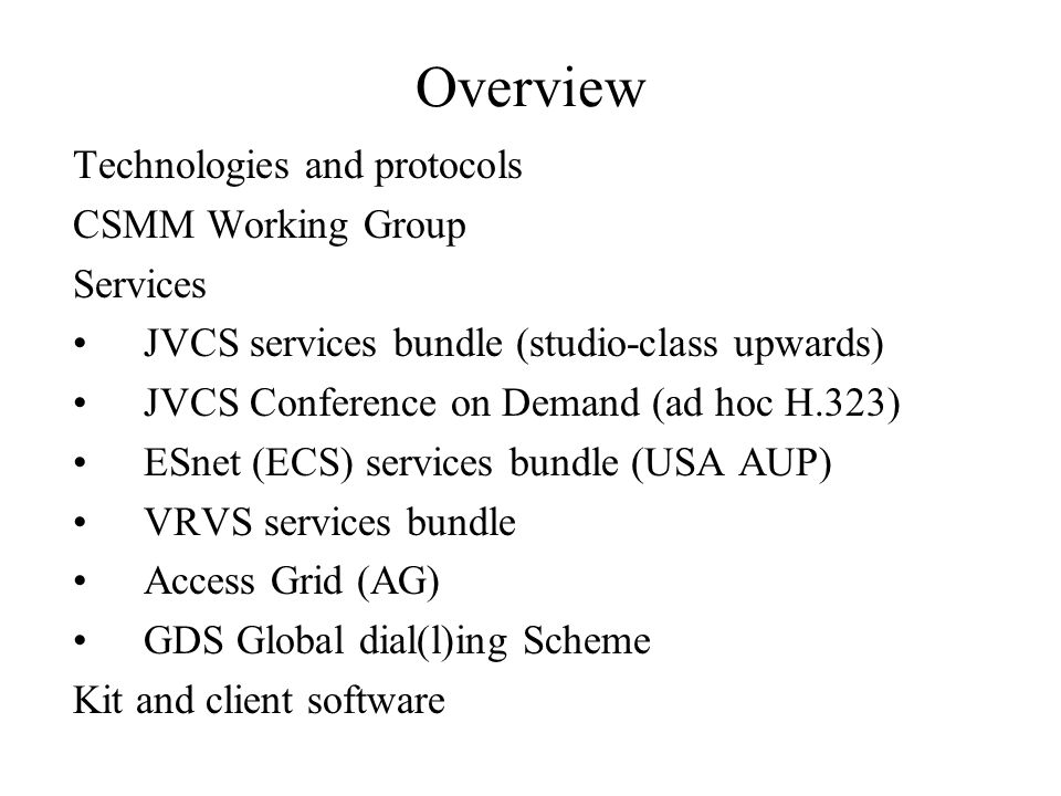Technologies: protocols H.323: industry standard for v.c.