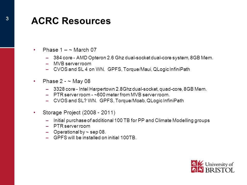 3 ACRC Resources Phase 1 – ~ March 07 –384 core - AMD Opteron 2.6 Ghz dual-socket dual-core system, 8GB Mem. –MVB server room –CVOS and SL 4 on WN. GP