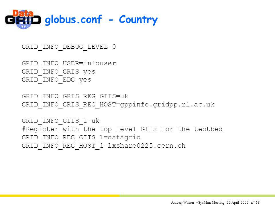 Antony Wilson –SysMan Meeting- 22 April 2002 - n° 18 globus.conf - Country GRID_INFO_DEBUG_LEVEL=0 GRID_INFO_USER=infouser GRID_INFO_GRIS=yes GRID_INF