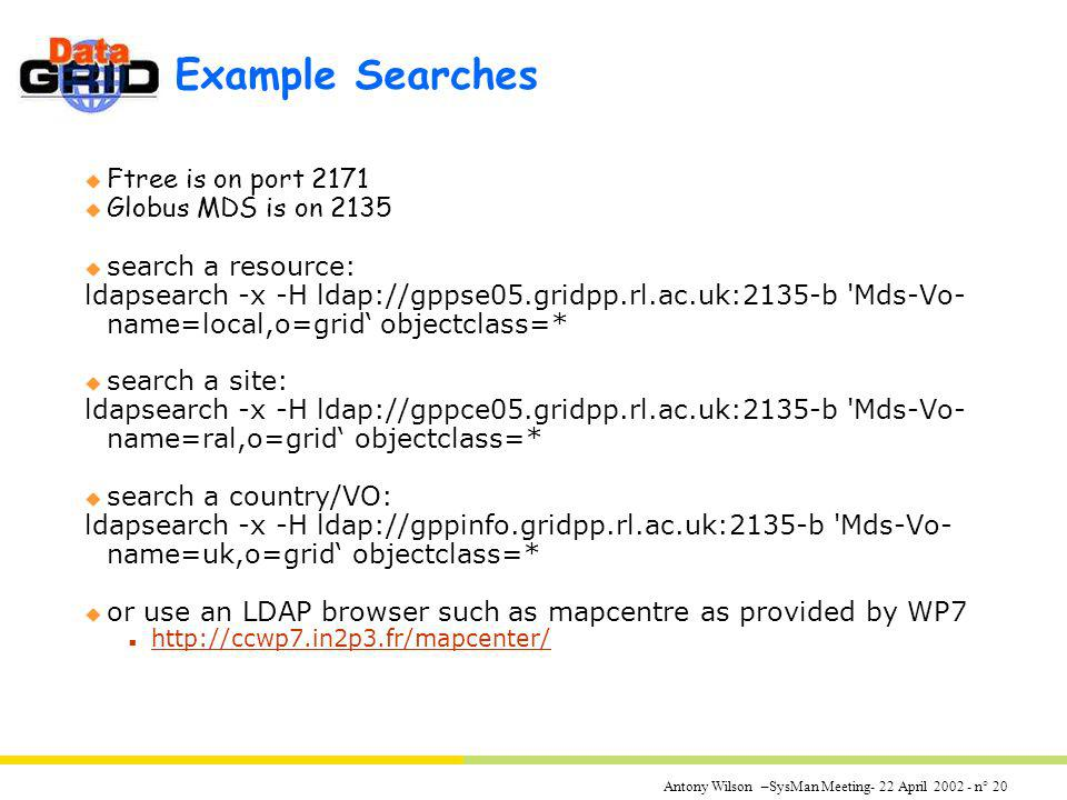 Antony Wilson –SysMan Meeting- 22 April 2002 - n° 20 Example Searches u Ftree is on port 2171 u Globus MDS is on 2135 u search a resource: ldapsearch