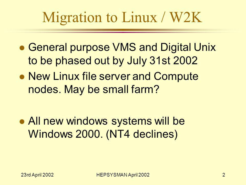 23rd April 2002HEPSYSMAN April 20022 Migration to Linux / W2K l General purpose VMS and Digital Unix to be phased out by July 31st 2002 l New Linux file server and Compute nodes.