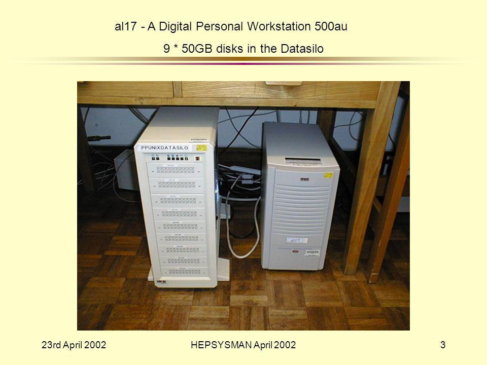 23rd April 2002HEPSYSMAN April 20023 al17 - A Digital Personal Workstation 500au 9 * 50GB disks in the Datasilo