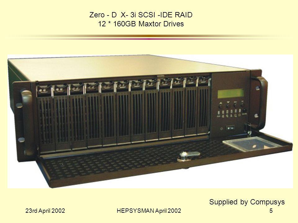 23rd April 2002HEPSYSMAN April 20025 Zero - D X- 3i SCSI -IDE RAID 12 * 160GB Maxtor Drives Supplied by Compusys