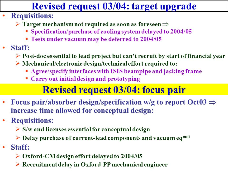 Revised request 03/04: target upgrade Requisitions: Target mechanism not required as soon as foreseen Specification/purchase of cooling system delayed to 2004/05 Tests under vacuum may be deferred to 2004/05 Staff: Post-doc essential to lead project but cant recruit by start of financial year Mechanical/electronic design/technical effort required to: Agree/specify interfaces with ISIS beampipe and jacking frame Carry out initial design and prototyping Revised request 03/04: focus pair Focus pair/absorber design/specification w/g to report Oct03 increase time allowed for conceptual design: Requisitions: S/w and licenses essential for conceptual design Delay purchase of current-lead components and vacuum eq mnt Staff: Oxford-CM design effort delayed to 2004/05 Recruitment delay in Oxford-PP mechanical engineer