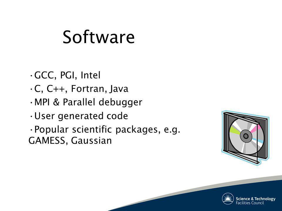 Software GCC, PGI, Intel C, C++, Fortran, Java MPI & Parallel debugger User generated code Popular scientific packages, e.g.