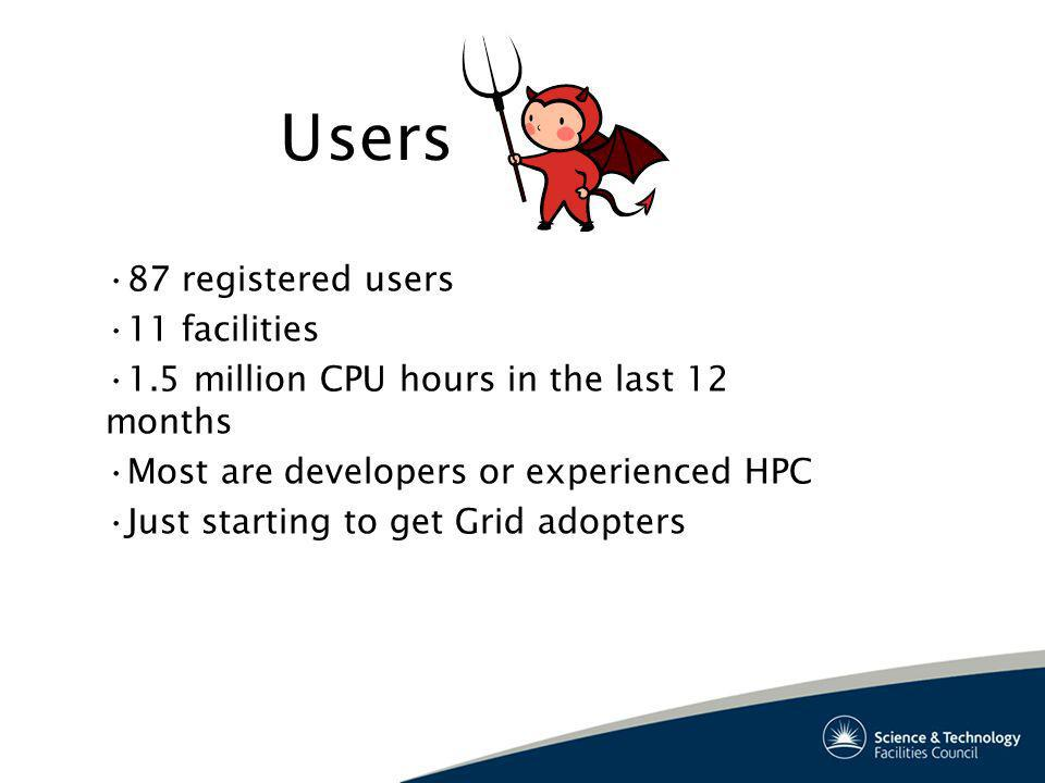 Users 87 registered users 11 facilities 1.5 million CPU hours in the last 12 months Most are developers or experienced HPC Just starting to get Grid adopters