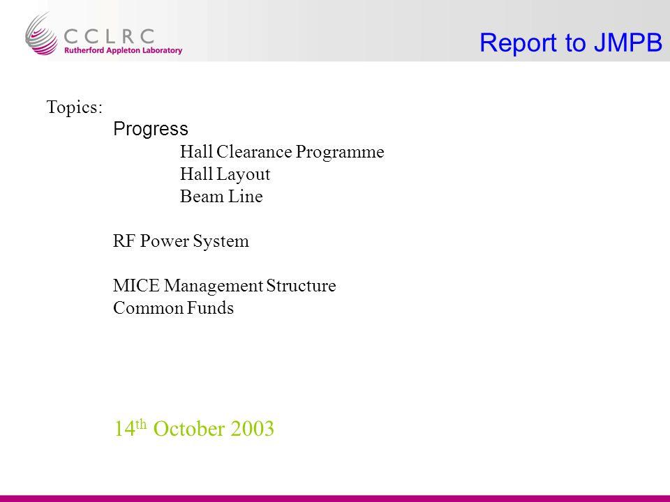 Progress B&I Beam Line Layout in synchrotron hall Target design R&D Hall Civil Clear Hall & prepare for 2004 shutdown