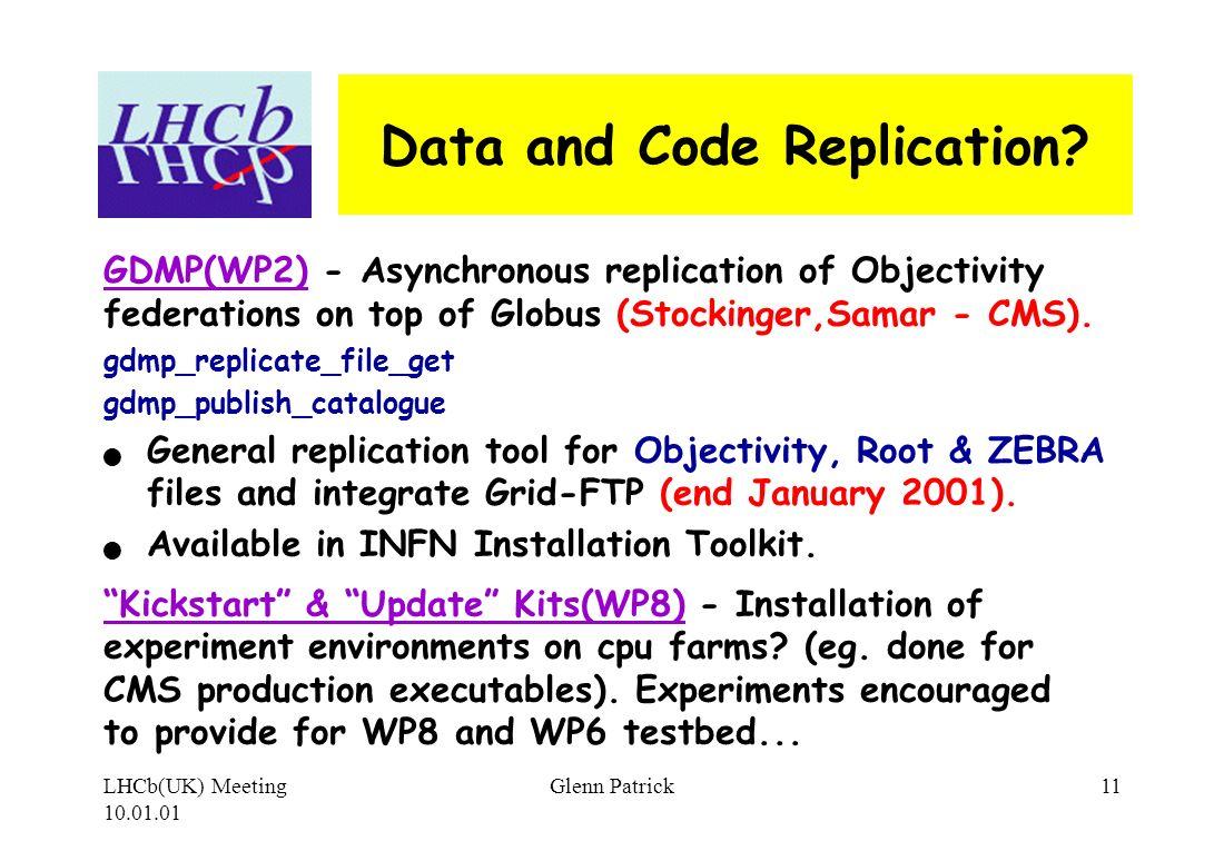 LHCb(UK) Meeting 10.01.01 Glenn Patrick11 Data and Code Replication.