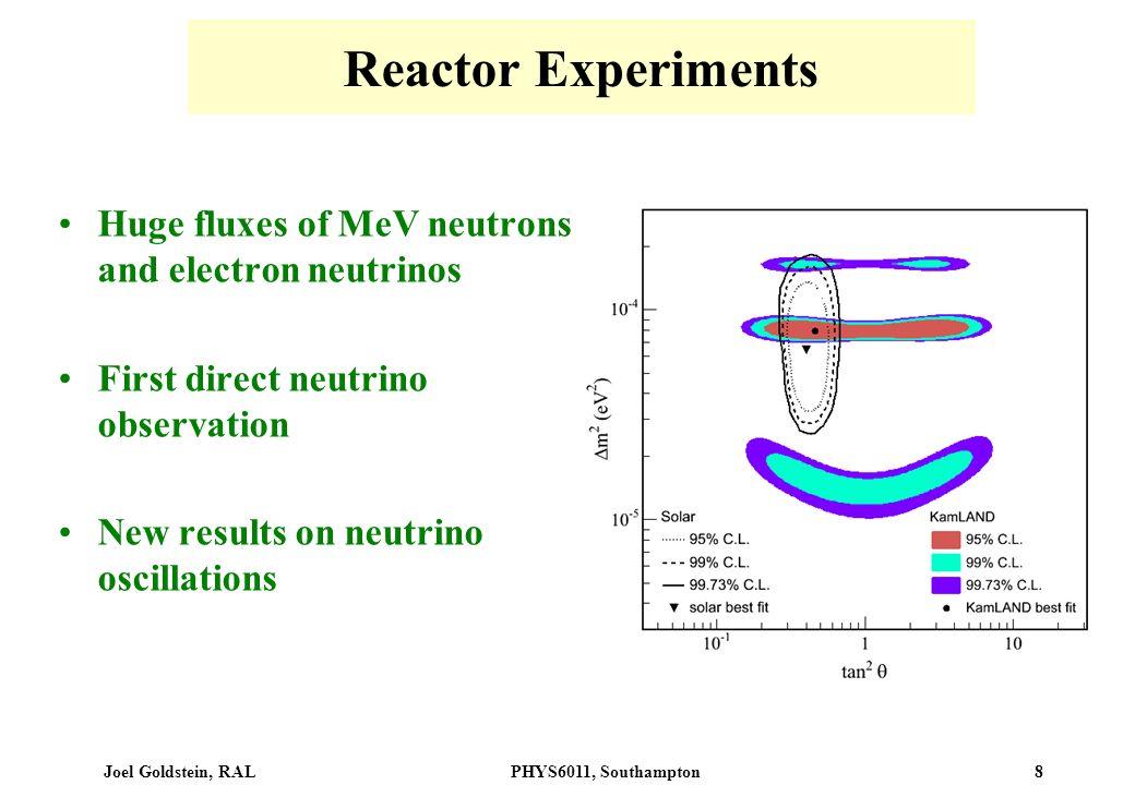 Joel Goldstein, RALPHYS6011, Southampton 8 Reactor Experiments Huge fluxes of MeV neutrons and electron neutrinos First direct neutrino observation Ne
